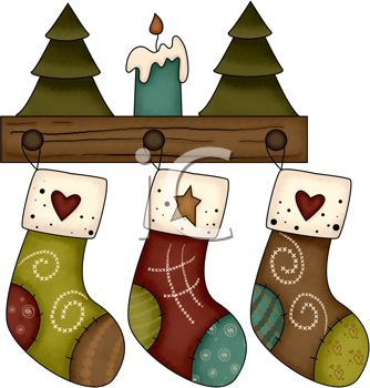 rustic christmas design of stocking hanging on wooden pegs royalty free clip art illustration - Rustic Christmas Stocking