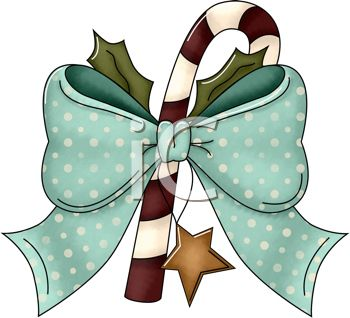 Rustic Christmas Design of Candy Cane with a Bow and Holly