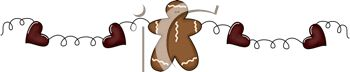 Rustic Christmas Design of a Gingerbread Man with a Heart Wreath