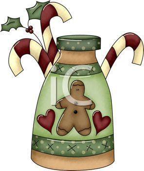 Rustic Christmas Design Of Jar With A Gingerbread Man And Candy Canes