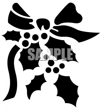 Stencil of a Sprig of Holly with a Bow