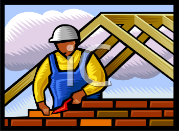 African American Mason or Bricklayer Building a Wall