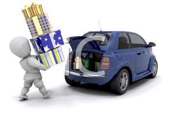 Human Figure in 3D Putting Christmas Presents in the Back of a Car