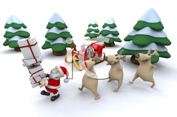 Santa and His Reindeer Packing the Sleigh