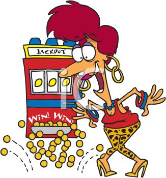 Cartoon of an Excited Woman Winning a Slot Machine Jackpot