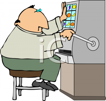Cartoon of a Fat Man Playing a Slot Machine