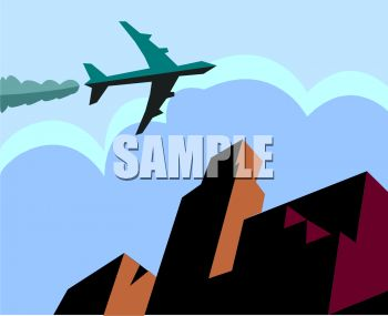 Business Travel Icon of a Jet Airplane Flying Over a City