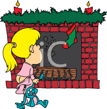 Child Waiting For Santa To Come Down The Chimney On Christmas Royalty Free Clipart Picture