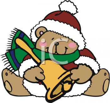 Christmas Bear Holding a Brass Bell Wearing a Hat and Scarf