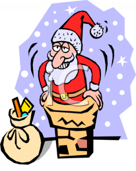 Christmas Cartoon of Santa Going Down the Chimney