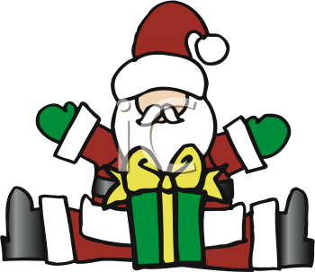 Cute Cartoon Santa with His Arms Raised in a Welcoming Gesture