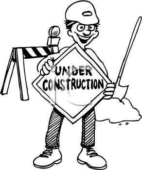 Road Crew Worker Holding an Under Construction Sign