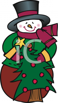 Cartoon Snowman with a Decorated Christmas Tree