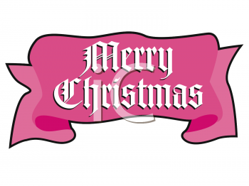 Merry Christmas Banner in the Shape of a Ribbon
