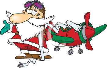 Cartoon of Santa Claus Airplane Pilot