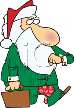 Cartoon of Santa Claus Carrying a Briefcase and Looking at His Watch
