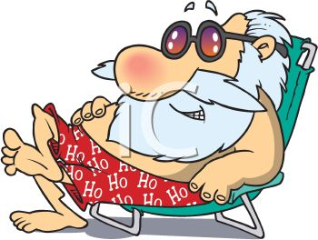 Cartoon of Santa Claus Sitting in a Beach Chair on Vacation