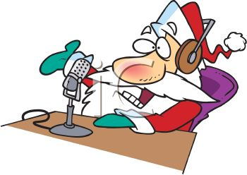 Cartoon of Santa Claus Making a Radio Announcement