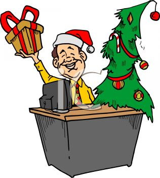 ... Desk at Work During the Christmas Season - Royalty Free Clipart Image