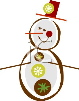 Stylized Snowman for Christmas Card Design