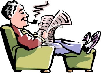 Elderly Man Reading the Newspaper and Smoking Pipe