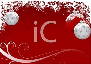 Red Christmas Background with White and Silver Ornaments and Snowflakes