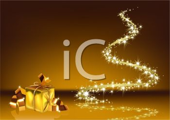 Sparkling Gold Christmas Background with a Wrapped Gift and a Spiral of Stars