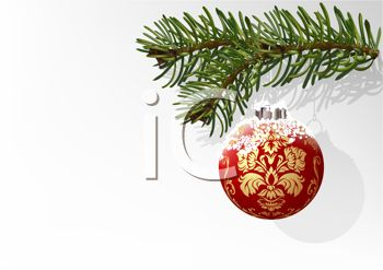 Elegant Christmas Ornament Hanging on a Realistic Fir Tree Branch
