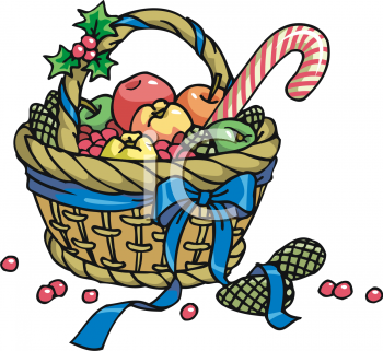 Christmas Gift Basket with Winter Fruit and Candy Canes