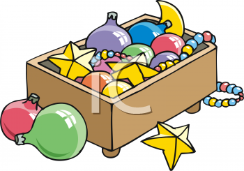 Box of Christmas Decorations and Ornaments