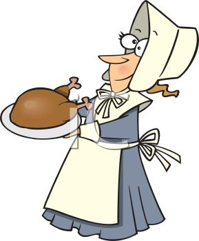 Cartoon of a Funny Pilgrim Woman Carrying a Roast Turkey
