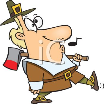 Funny Pilgrim Whistling While He Goes to Get the Thanksgiving Turkey