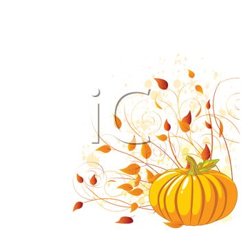 Pumpkin Graphic with Fall Leaves