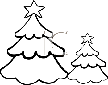 Coloring Page of Christmas Trees in the Woods