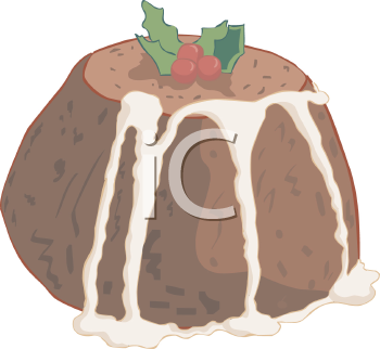 Christmas Pudding with Icing Dripping Down the Sides