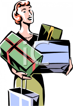 Elegant Retro Lady Christmas Shopping