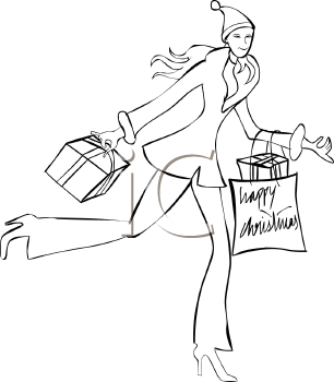 Coloring Page of Young Woman Christmas Shopping