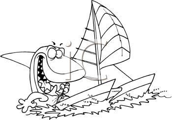 Shark Sailing a Sailboat Coloring Page