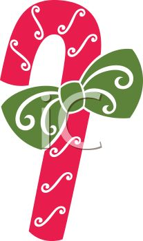 Stencil Style Candy Cane with a Bow