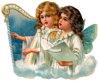 Royalty Free Clip Art Image Little Victorian Angels Singing And Playing A Harp