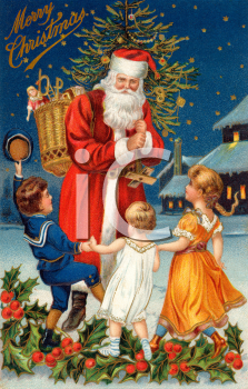 Children with Santa on Christmas Eve