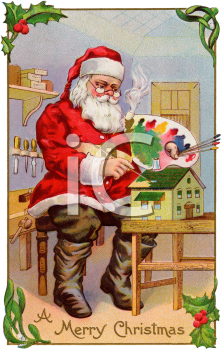 Santa Painting a Dollhouse in His Christmas Workshop