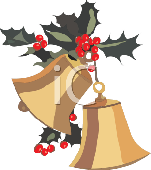 Gold Christmas Bells with Holly Decoration