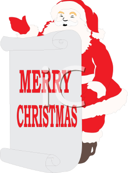santa claus holding a merry christmas sign royalty free clip art