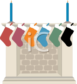 Colorful Christmas Stockings Hung on a Mantle
