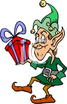 Santa's Elf with a Christmas Gift - Royalty Free Clipart Picture