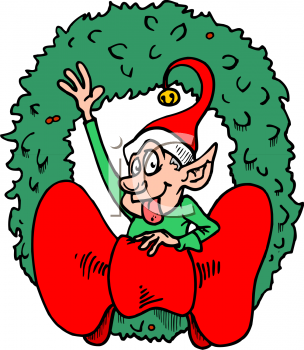 christmas elf in a wreath royalty free clip art image rh clipartguide com