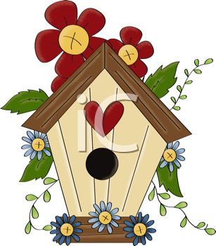 Royalty Free Clipart Image Rustic Birdhouse With Flowers And Leaves