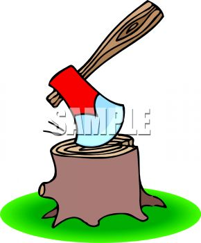 hatchet stuck in a stump royalty free clipart picture rh clipartguide com