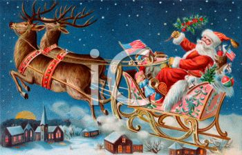 Vintage Santa in His Sleigh Flying Over a Sleepy Town